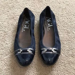 Navy blue AGL flats with patent toe